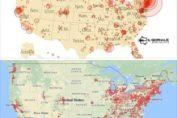 Antenne 5G e focolai di coronavirus si sovrappongono nella mappa del territorio nord americano