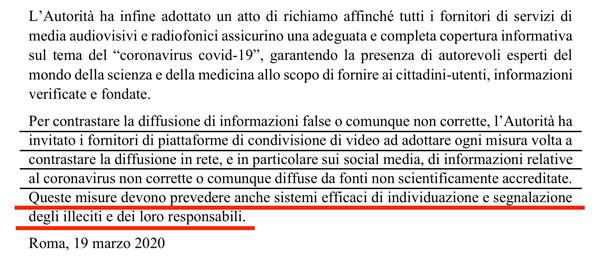 Coronavirus e censura, la conclusione del comunicato stampa dell'AGCOM del 19 marzo 2020