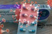 Una scatola di Ramipril e in sottofondo il coronavirus