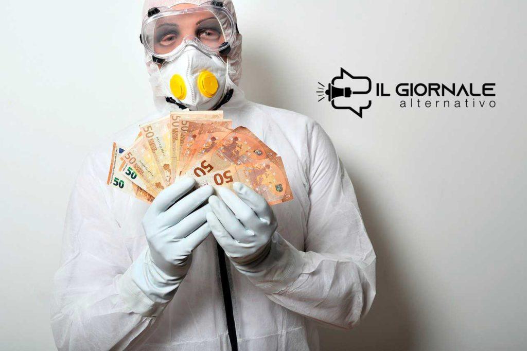 Un medico in tuta protettiva con i soldi in mano che raffigura il problema pandemic bonds